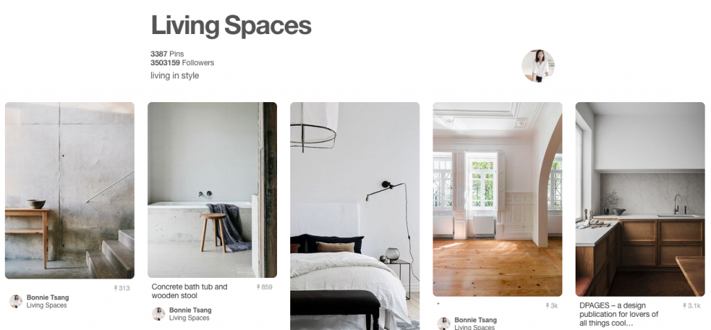 Living Spaces Top Pinterest Board