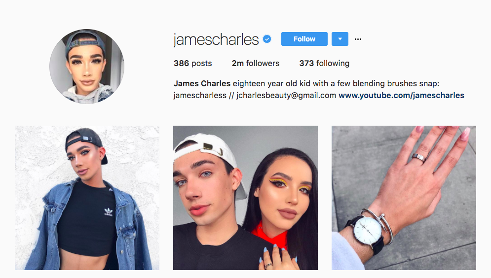 James Charles Top Beauty Influencer