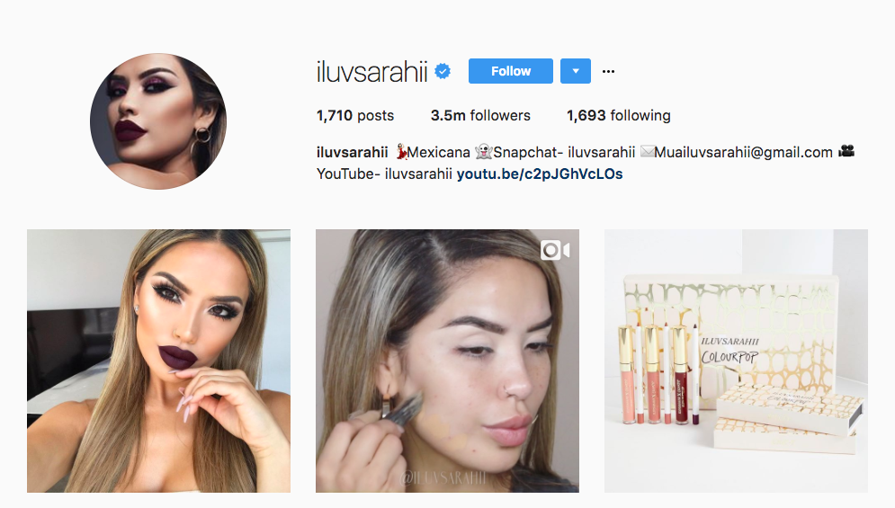 iluvsarahii top beauty influencer