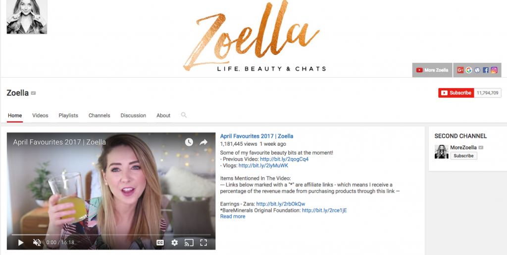 Zoella Top Beauty Influencer