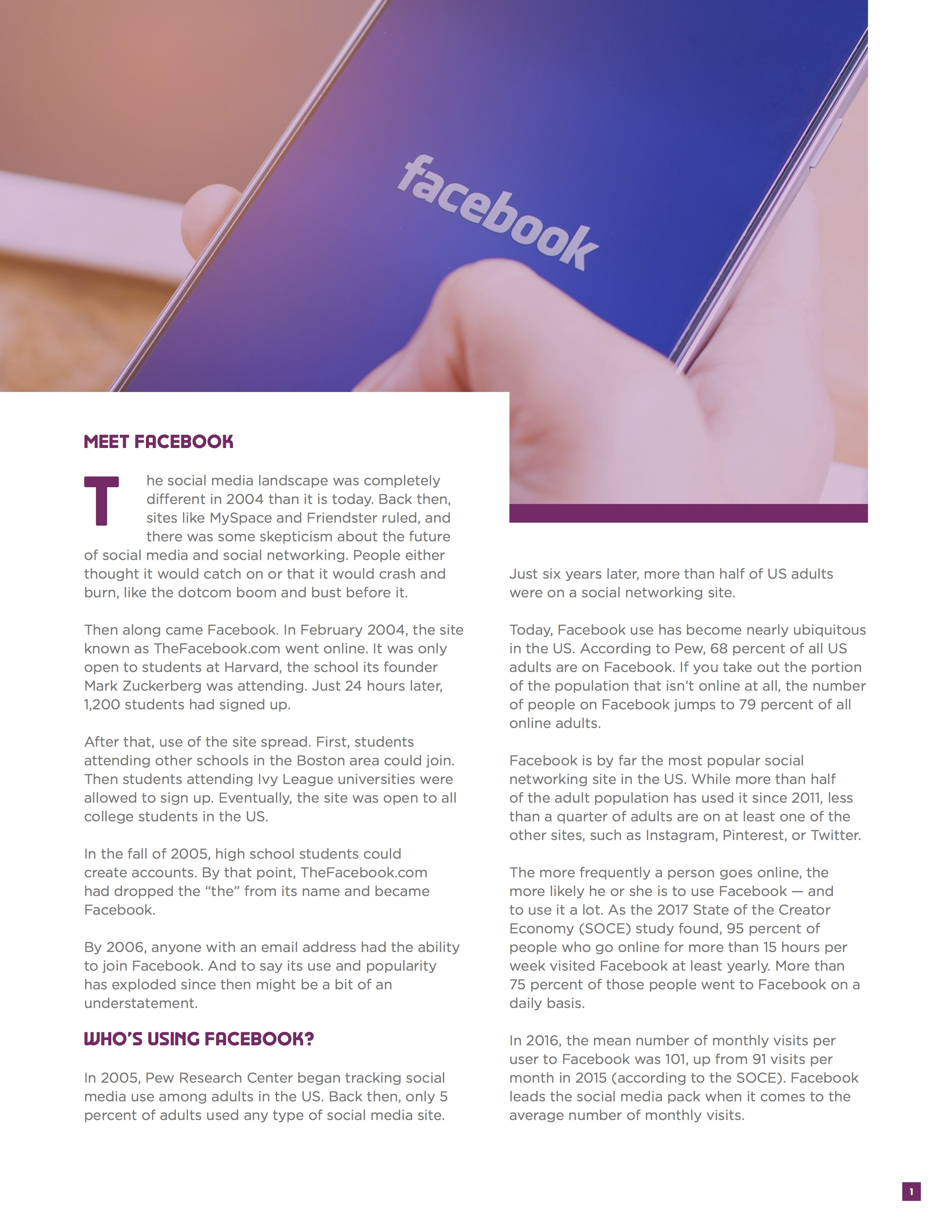 Influencer Marketer Guide to Facebook feature page 1