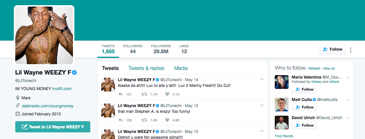 Lil Wayne Top Twitter Influencer