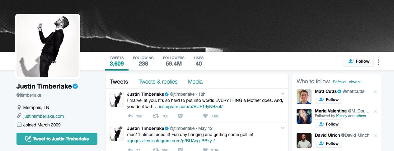 Justin Timberlake Top Twitter Influencer