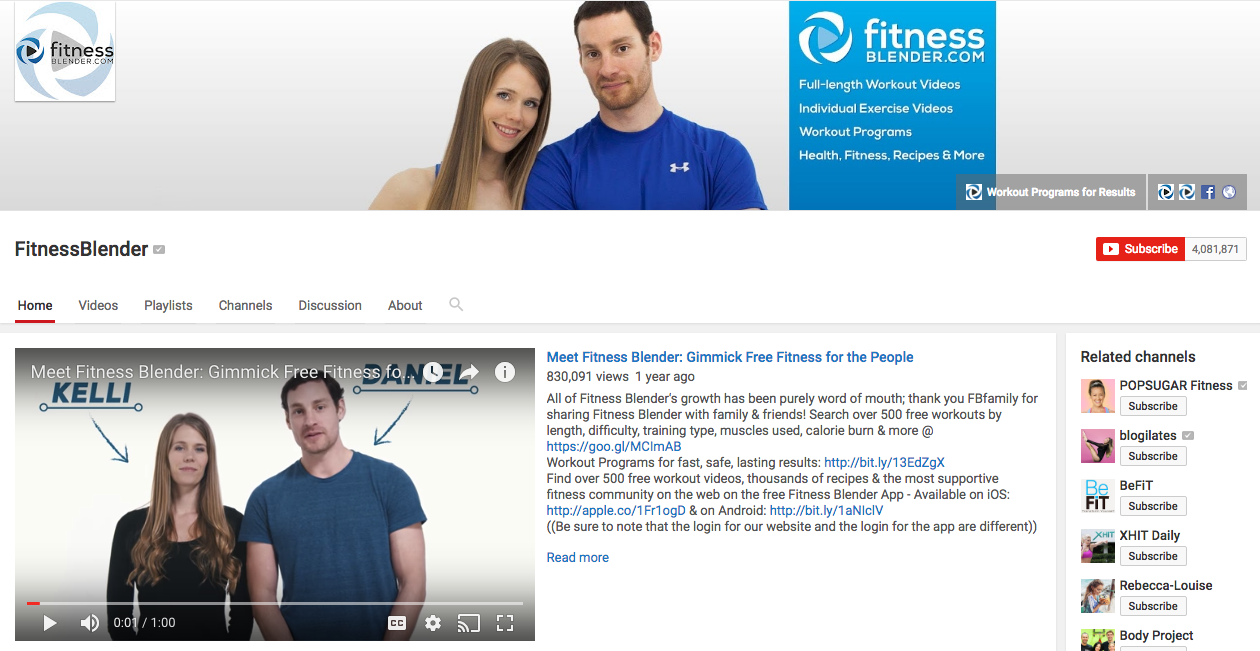 FitnessBlender YouTube Influencer