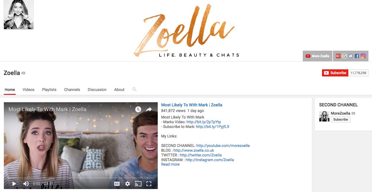 Zoella YouTube Beauty Influencer