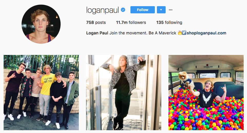 Logan Paul Top Snapchat Influencers