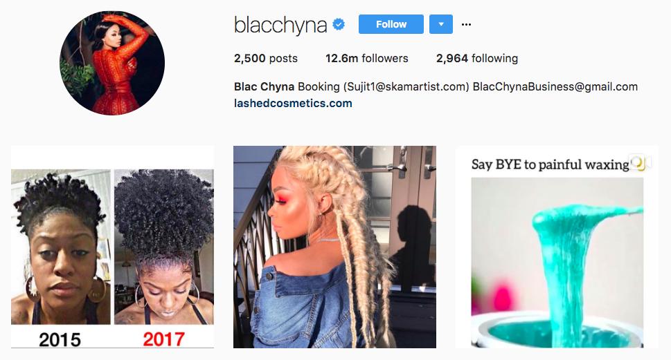 Blac Chyna Top Snapchat Influencer