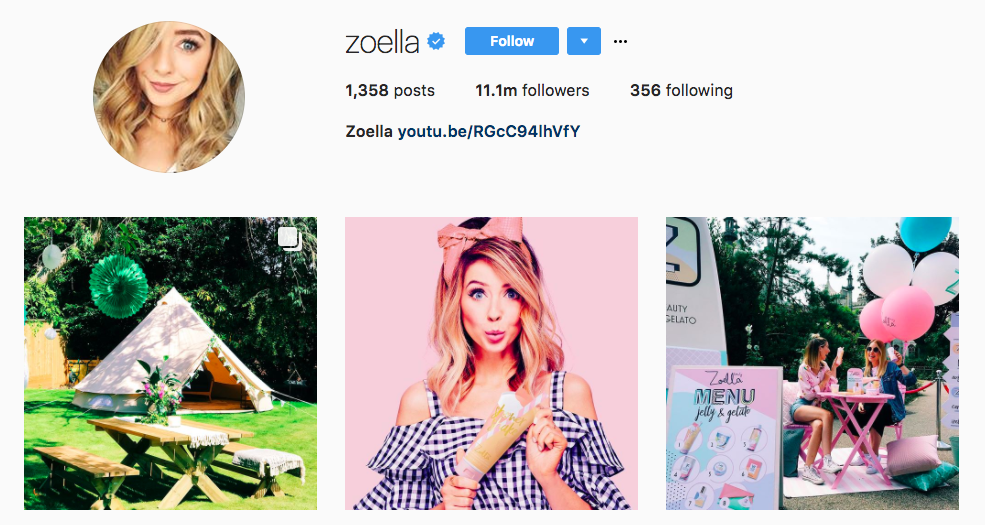 Zoella Top Beauty Influencer