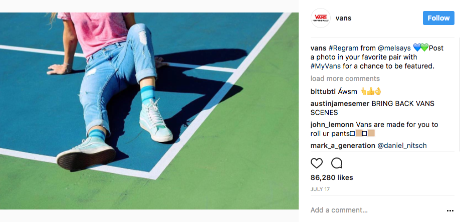 Vans Instagram Content Marketing