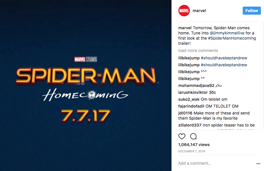 Marvel Instagram Content Marketing