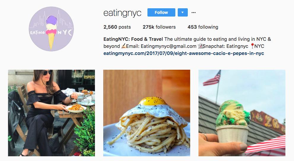 EatingNYC Top Foodie Influencer
