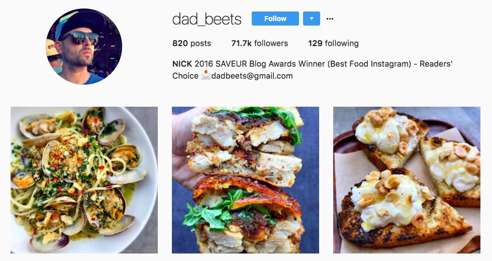 dad_beets top foodie influencer