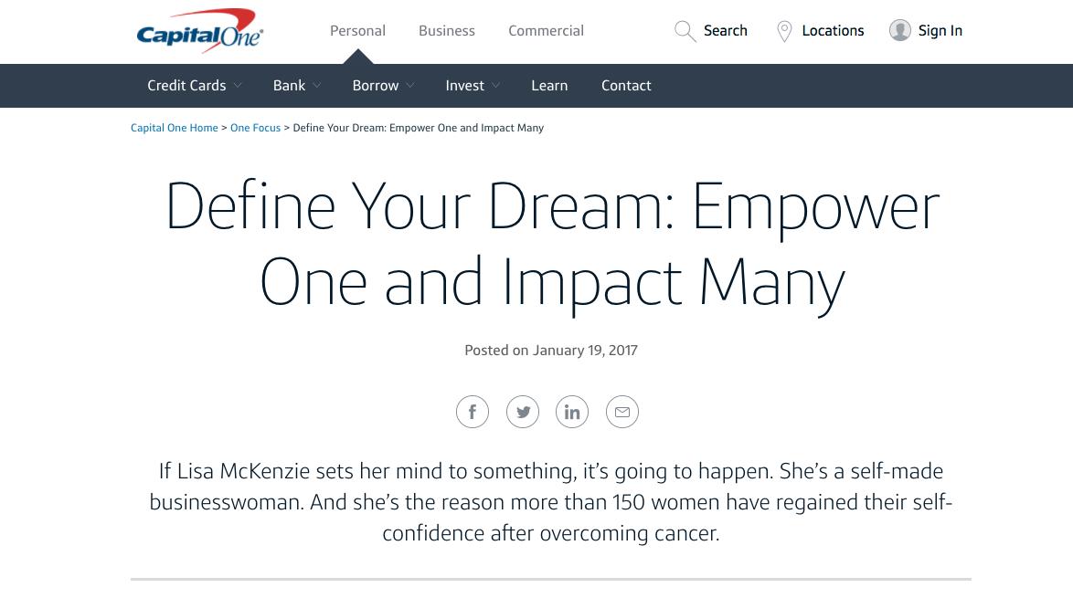 CapitalOne B2C Content Marketing Examples