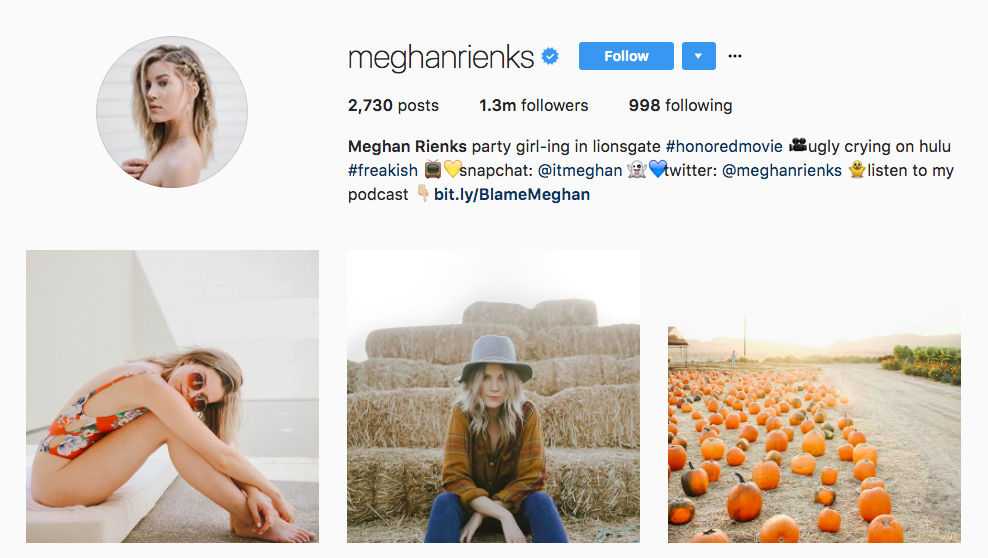 Meghan Rienks Instagram Influencer