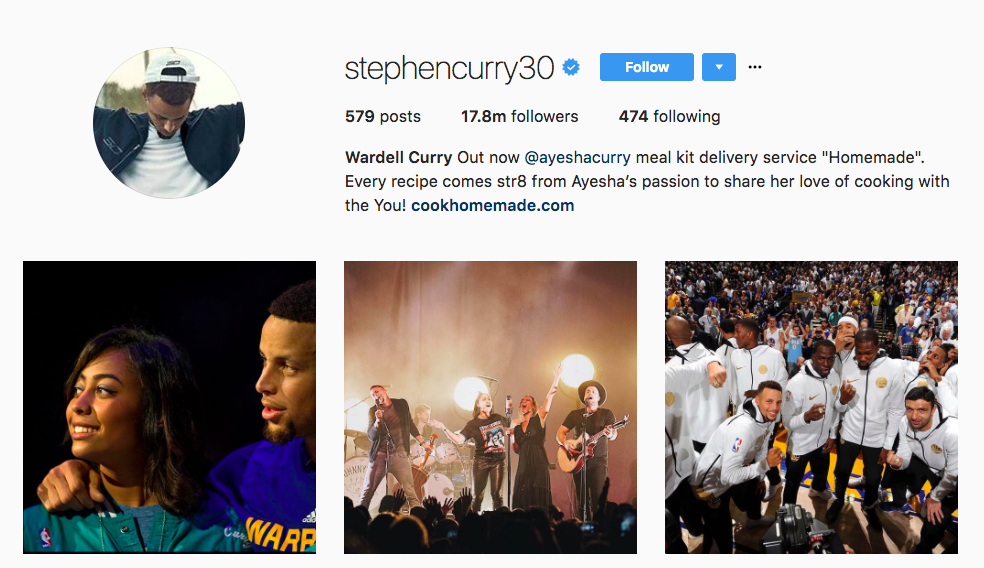 Stephen Curry Instagram Influencer