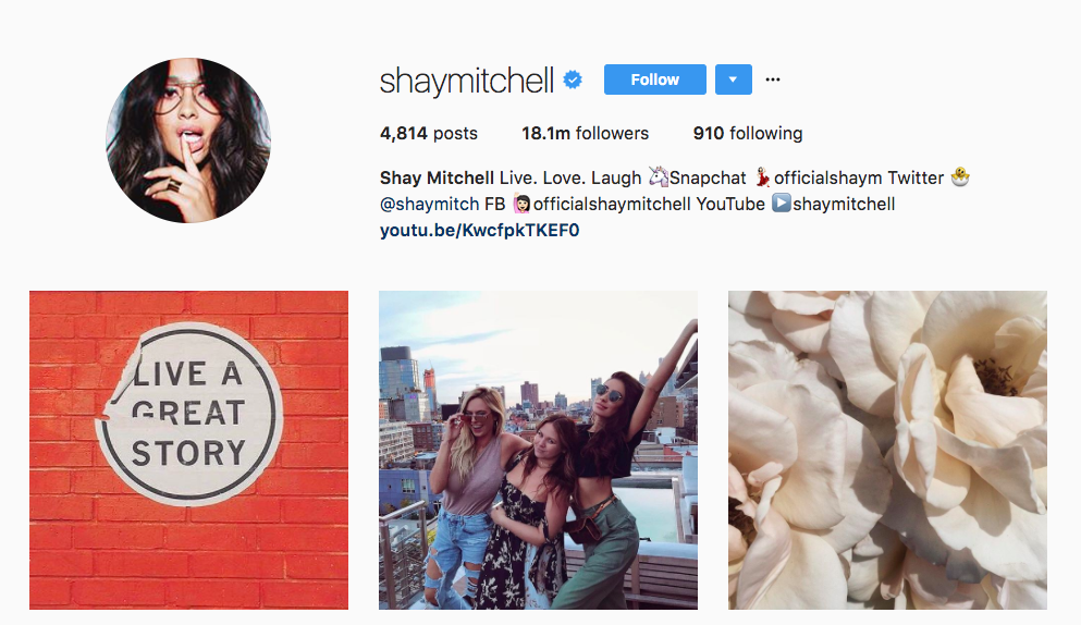 Shay Mitchell Instagram Influencer