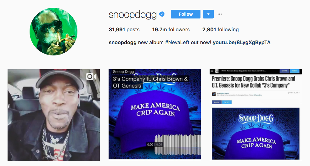 Top 2017 Instagram Influencer Snoop Dog