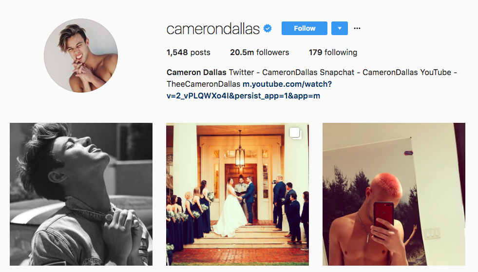 2017 Top Instagram Influencers Cameron Dallas