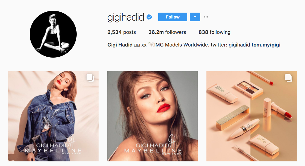 Top Instagram Influencer 2017 Gigi Hadid