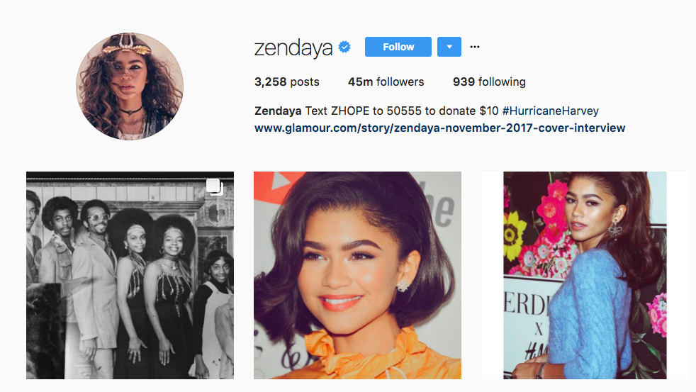 Zendaya Top Instagram Influencer