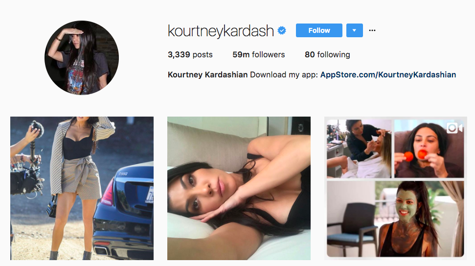 Kourtney Kardashian Top Instagram Influencer