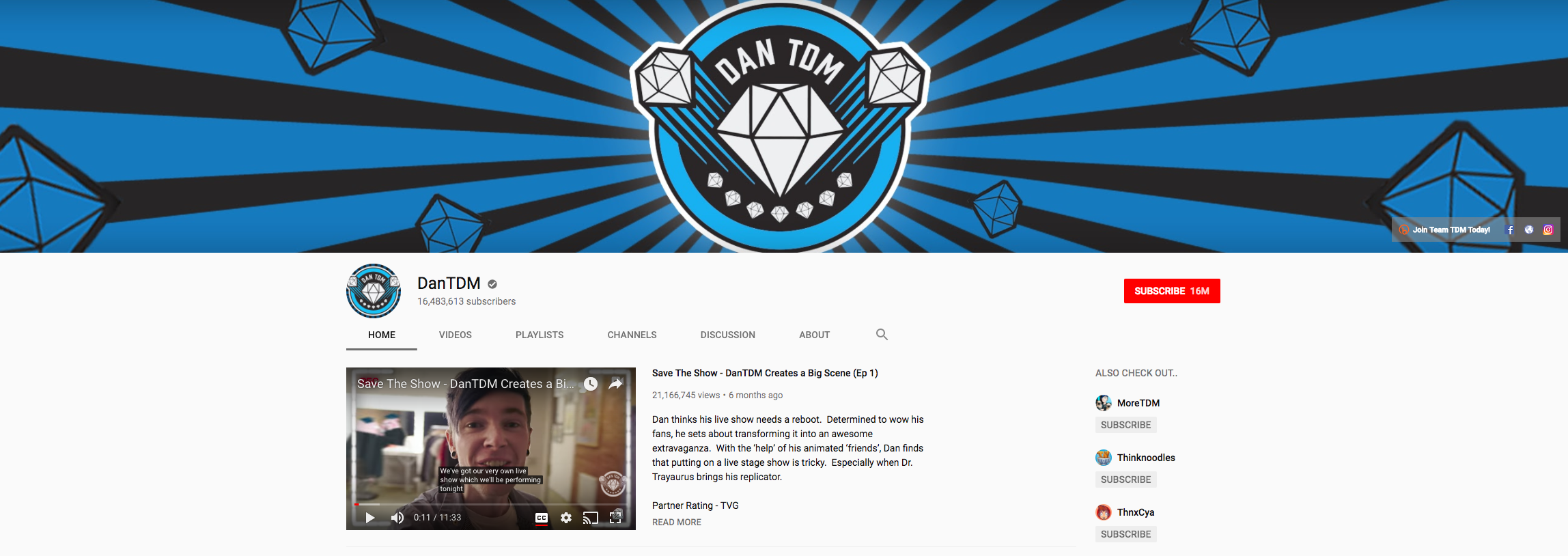 DanTDM Top Gaming Influencers