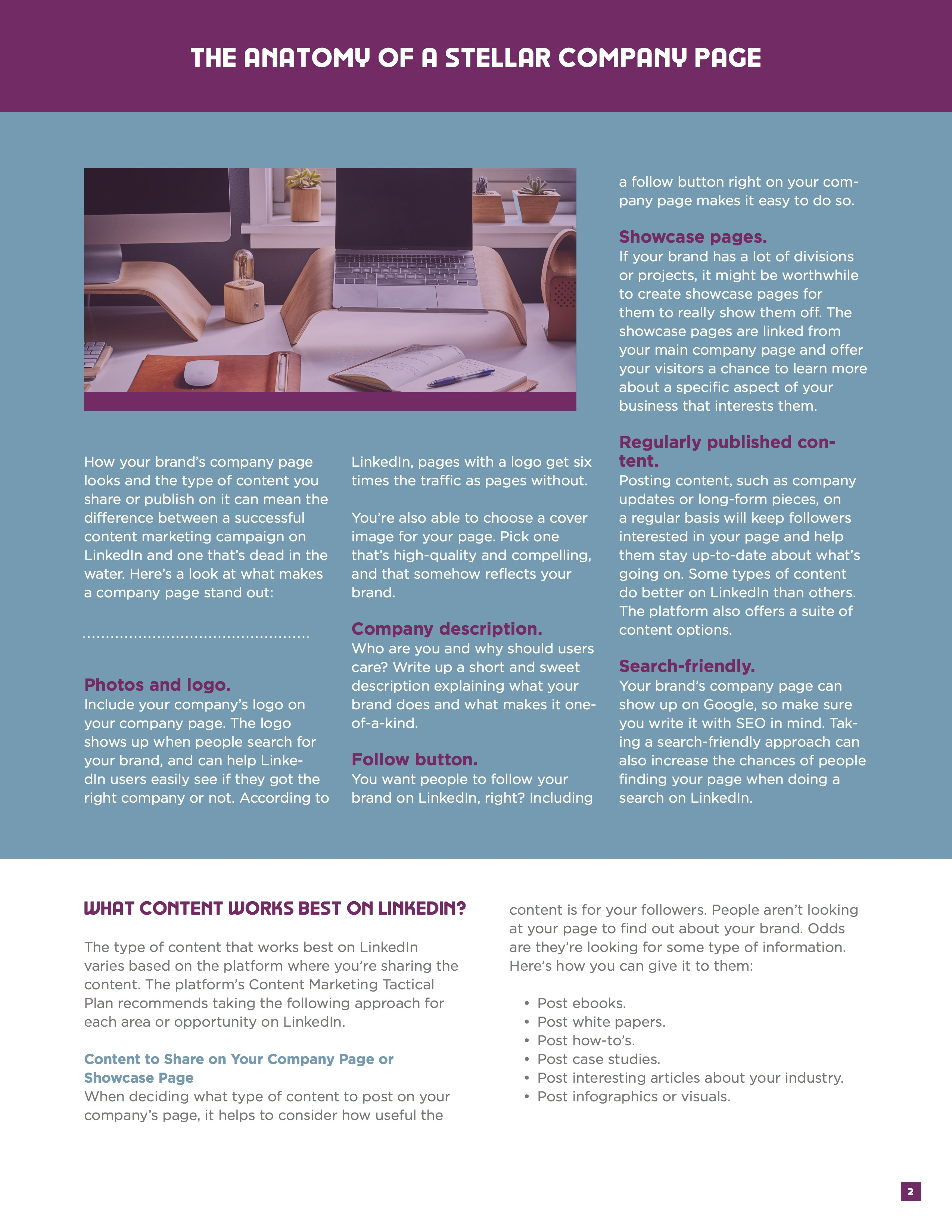 LinkedIn Content Marketing Ebook Page