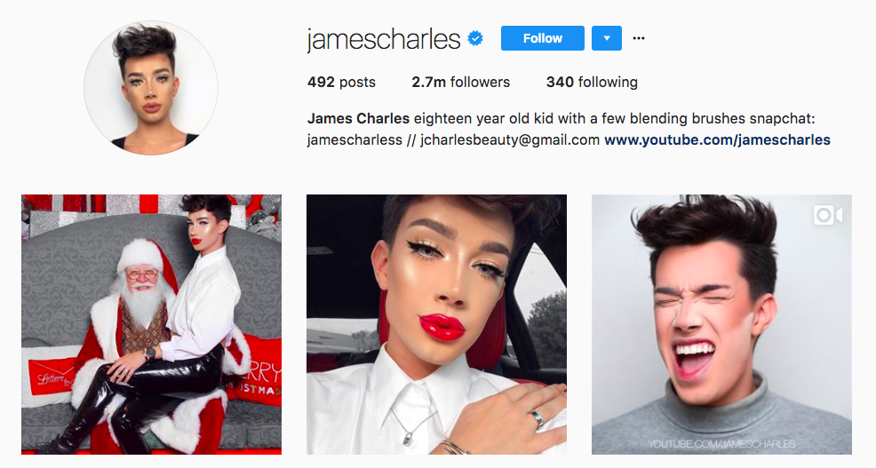 James Charles top brand influencer