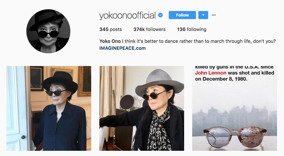 Yoko Ono Top Art Influencer