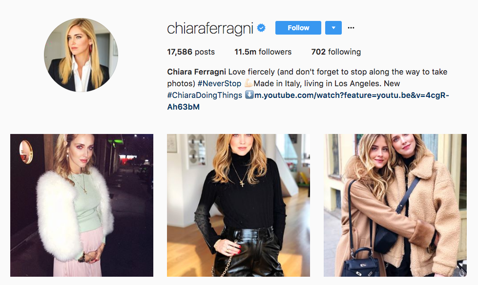 Chiara Ferragni top female influencer