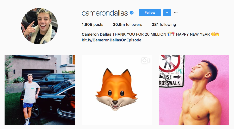 Cameron Dallas Top Millennial Influencer