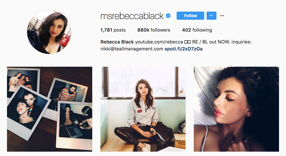 Rebecca Black Top Millennial Influencer