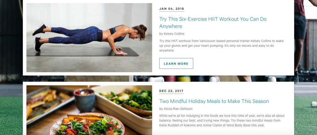 Lululemon targeted content marketing