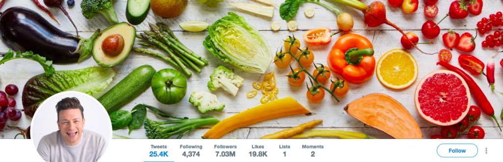 Jamie Oliver Top Health Influencer on Twitter