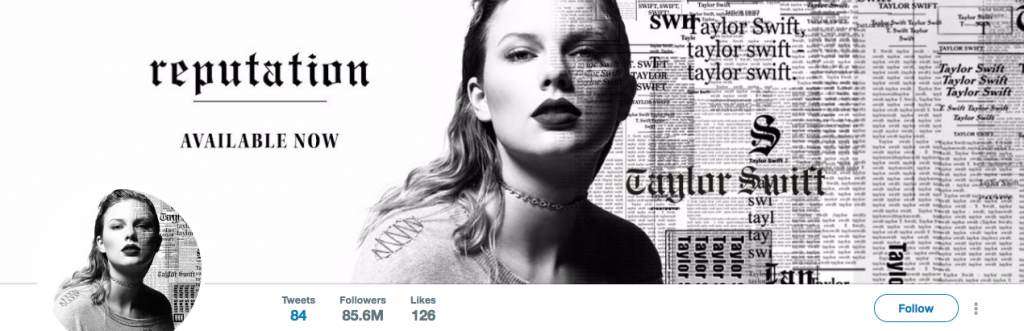 Taylor Swift Top Entertainment Influencer on Twitter