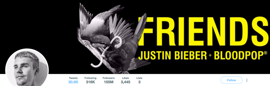 Justin Bieber Top Entertainment Influencer on Twitter