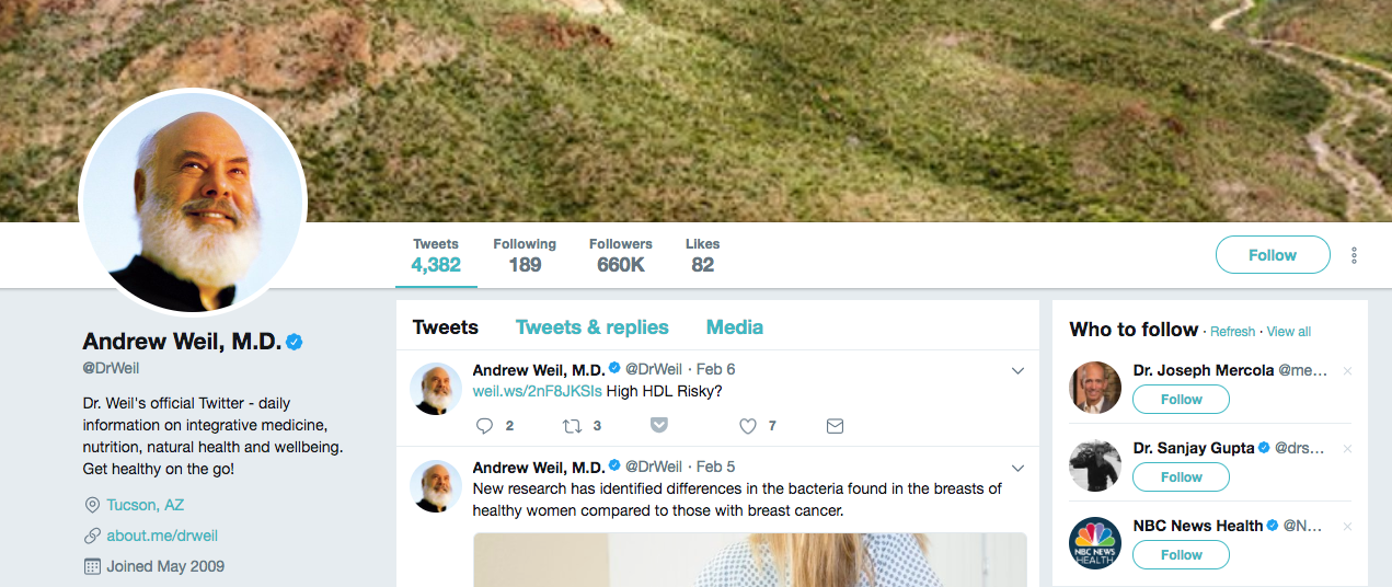 Andrew Weil Top healthcare influencer