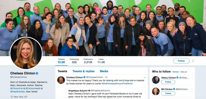 Chelsea Clinton top female social media influencer