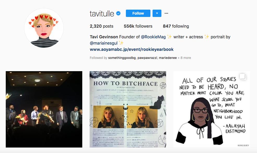 Tavi Gevinson Top Female Social Media Influencer