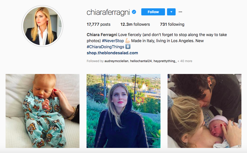 Chiara Ferragni top female social media influencer