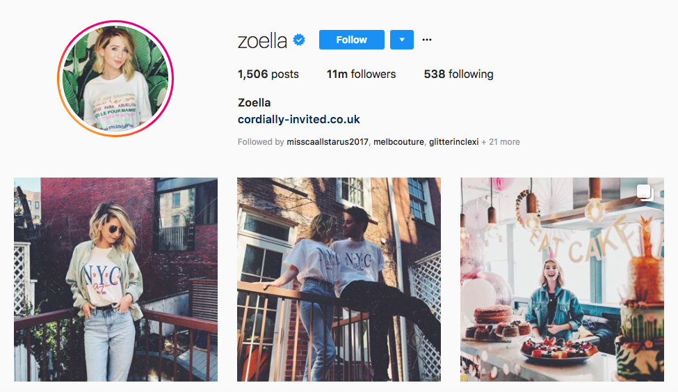 Zoella top female social media influencer