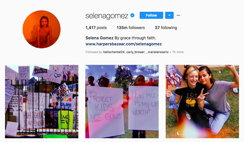Selena Gomez top female social media influencers