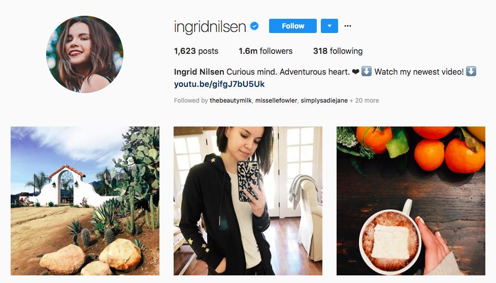 Ingrid Nilsen top instagram brand influencers