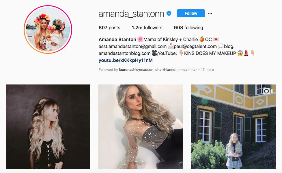 Amanda Stanton top Instagram brand Influencers