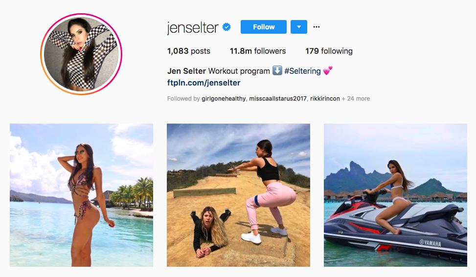 Jen Selter top instagram brand influencers