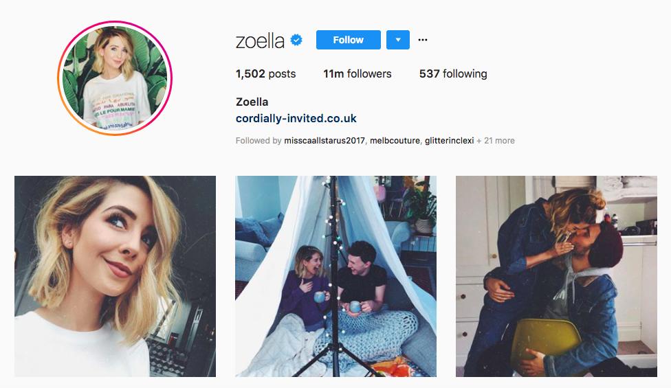 Zoe Sugg top instagram brand influencers