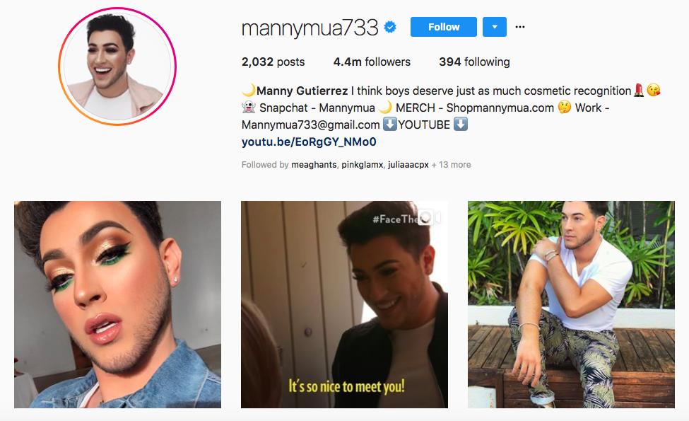Manny Gutierrez top brand instagram influencers