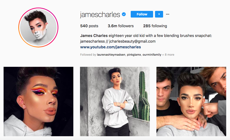 James Charles top instagram brand influencers