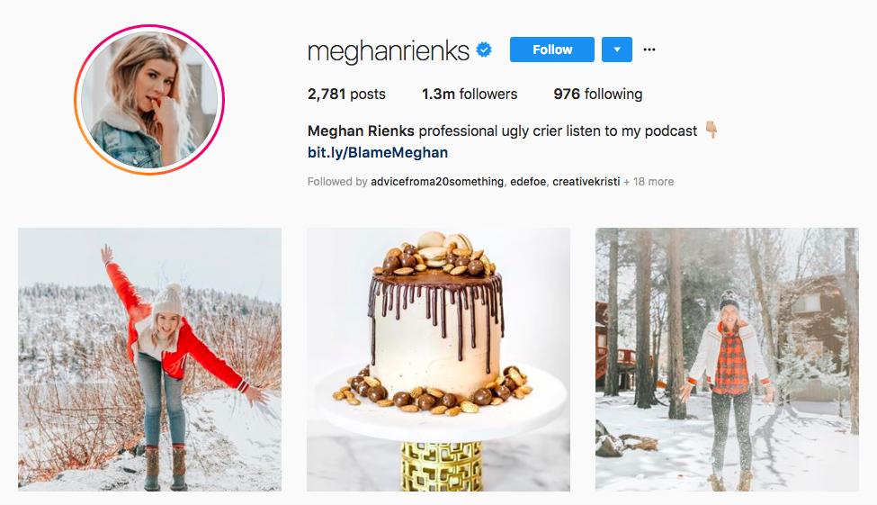 Meghan Rienks top instagram brand influencer