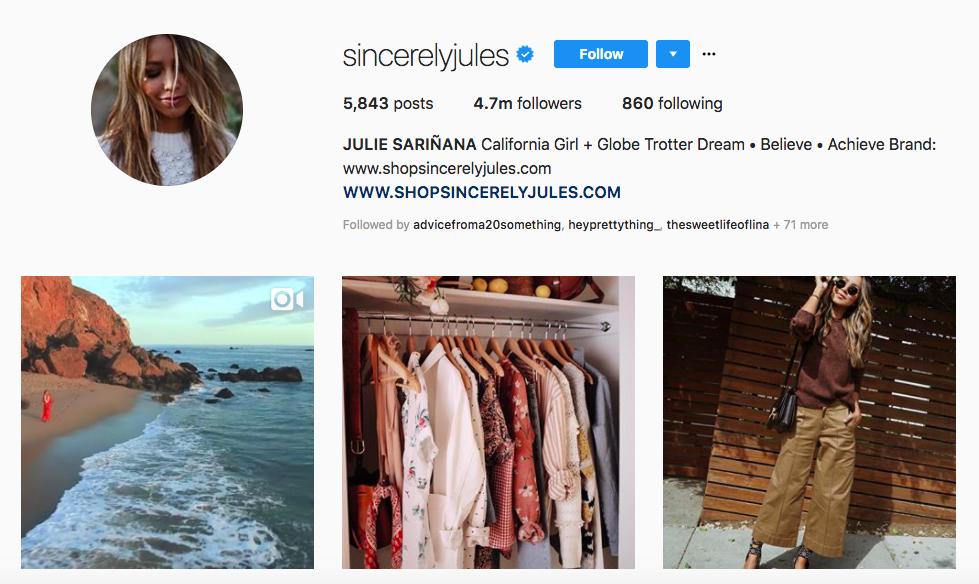 Julie Sarinana top brand instagram influencer